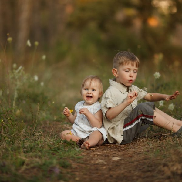 Two beautiful happy little children with flowers. The boy blows on a dandelion. The girl smiles and laughs looking at the camera. The concept of a happy family on holiday in nature.